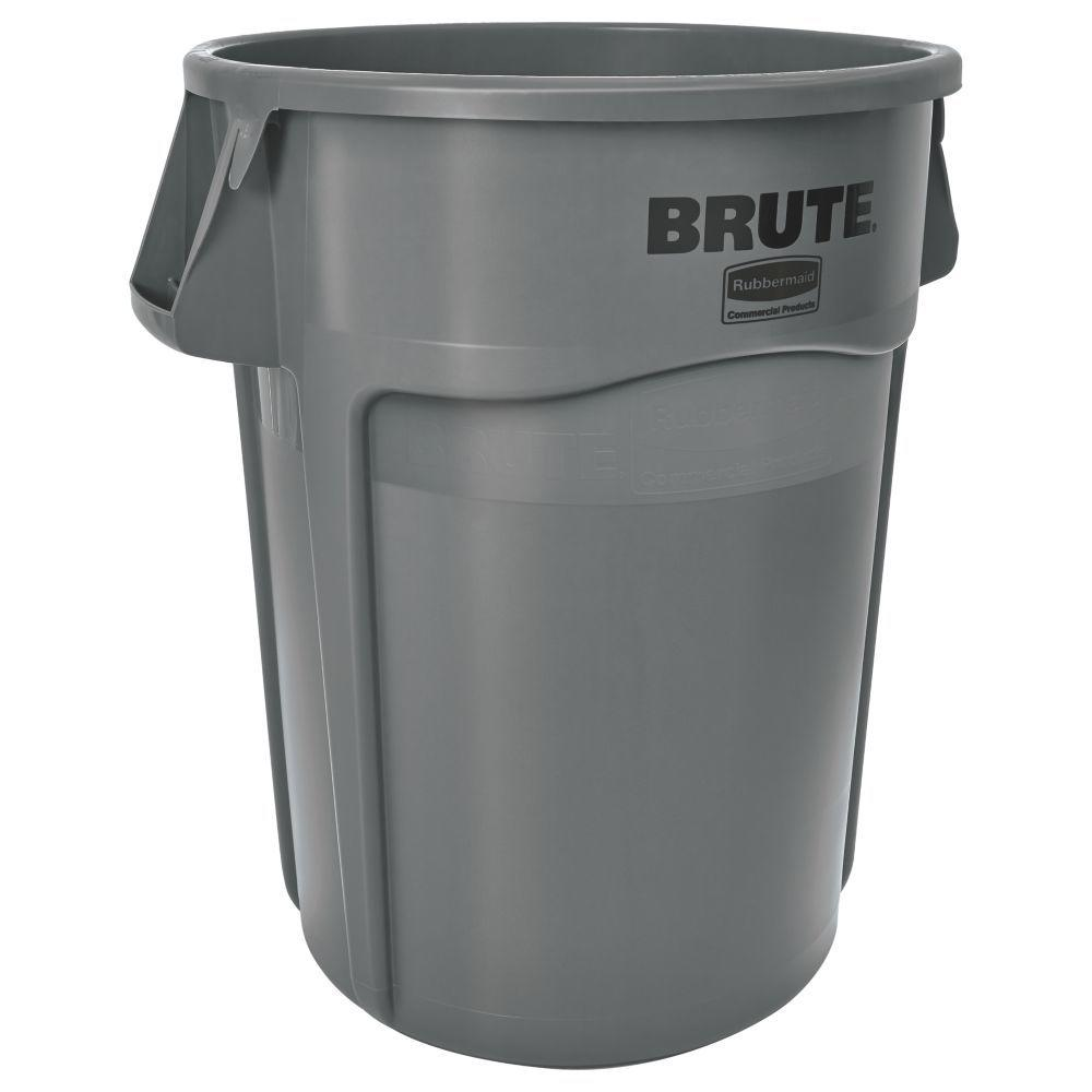 Rubbermaid Commercial Products Brute 44 Gal Grey Round Vented Trash Can Fg2643 60 Gra The