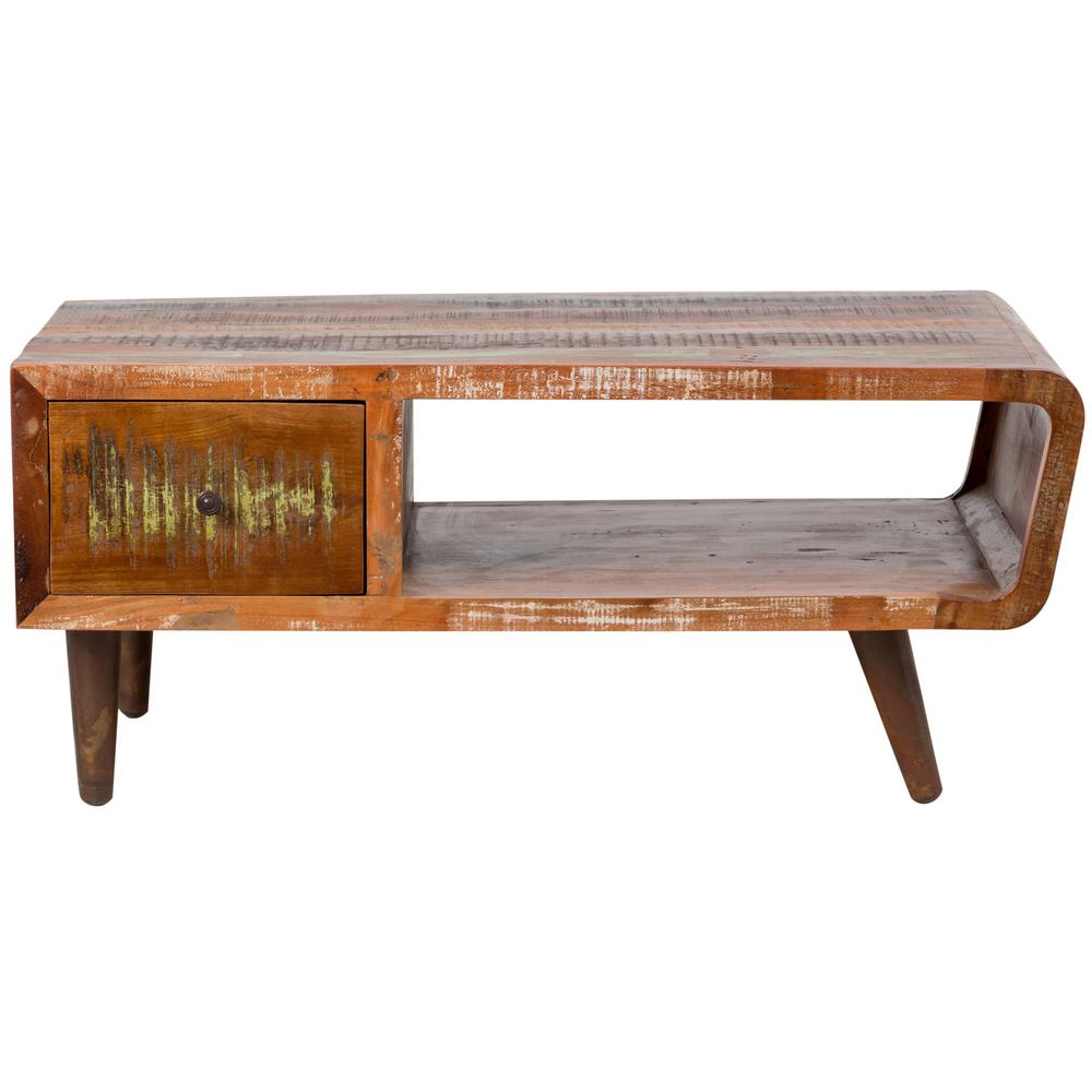 Route 66 Retro Multi Colored Reclaimed Wood Coffee Table