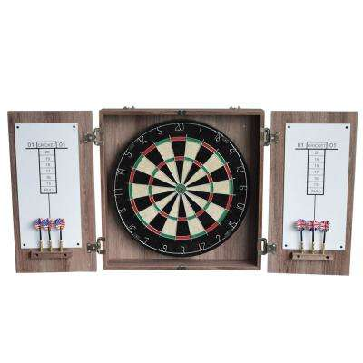 19.75 in. Winchester Dart Board and Cabinet Set in Driftwood