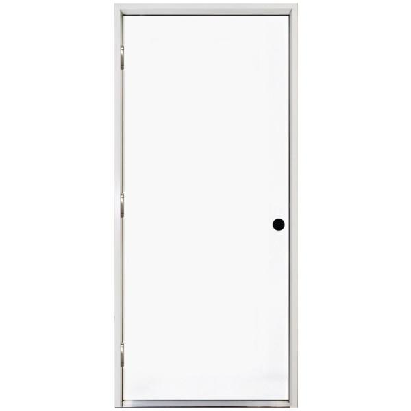 32 in. x 80 in. Premium Flush Primed White Right-Hand Outswing Steel Prehung Front Door with 4-9/16 in. Frame