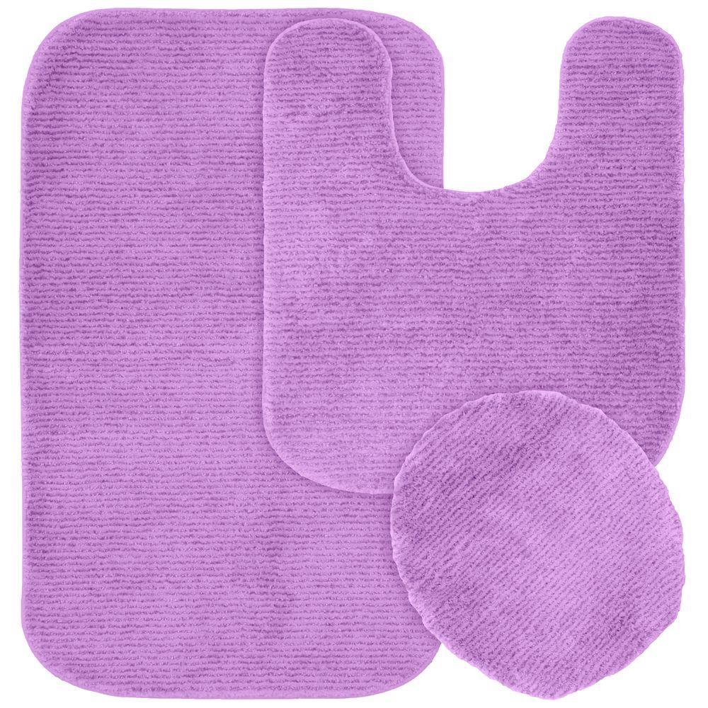 Glamor Purple 21 in. x 34 in. Washable Bathroom 3-Piece Rug