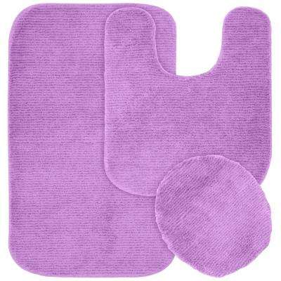Glamor Purple 21 in. x 34 in. Washable Bathroom 3-Piece Rug Set