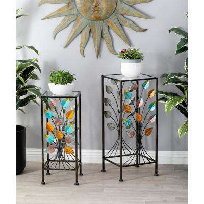 Multi-Colored Iron and Glass Stems and Leaves Square Plant Stands (Set of 2)