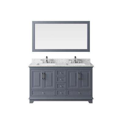 60 in. Vanity in Cashmere Grey with Marble Vanity Top in Carrara White with White Basin and Mirror