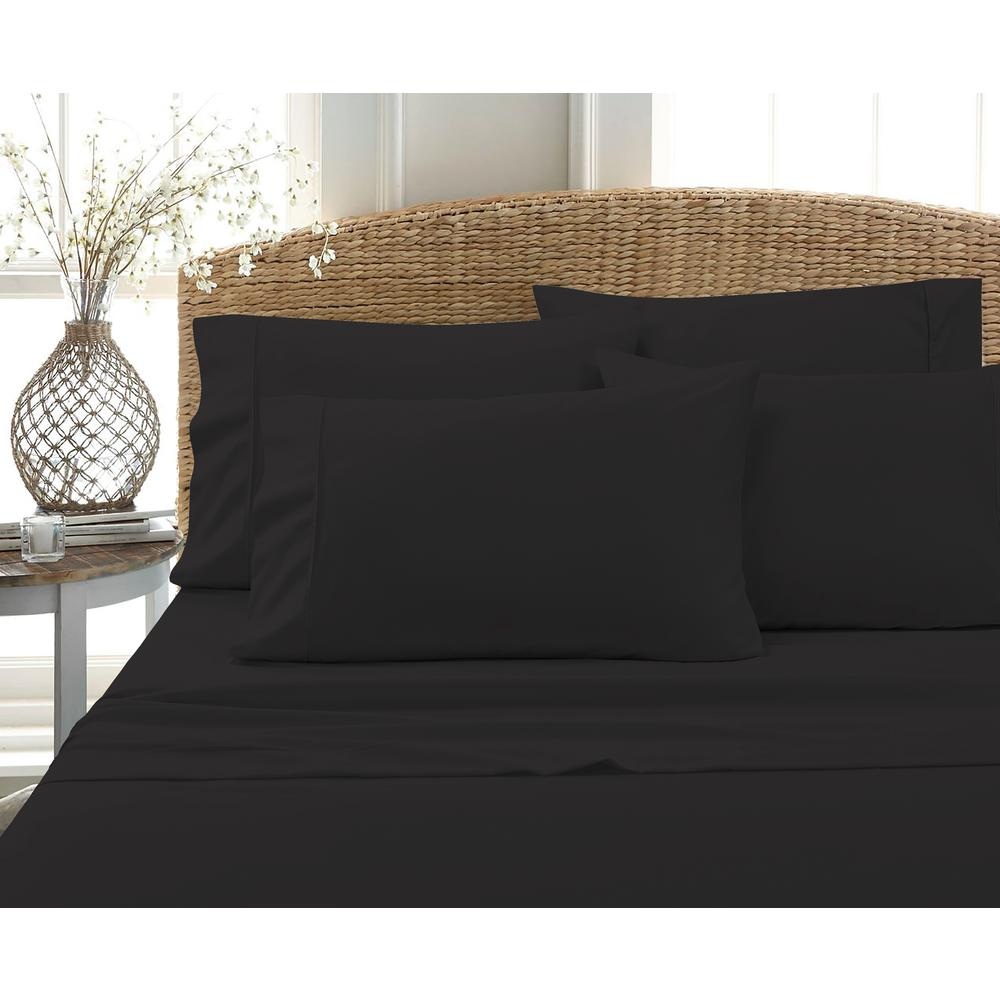 6-Piece Black Solid Cotton Rich Full Sheet Set