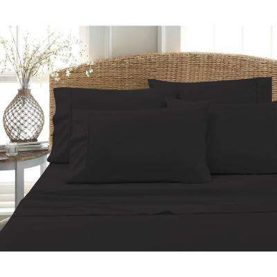 6-Piece Black Solid Cotton Rich Queen Sheet Set