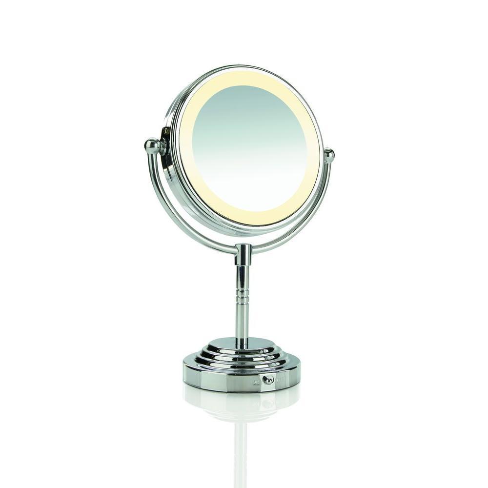 Conair Lighted Pedestal Makeup Mirror, Battery Illuminated Makeup Mirror
