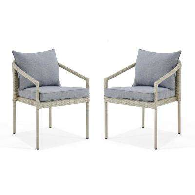 Windham Light Gray Stationary All-Weather Wicker Outdoor Lounge Chairs with Dark Gray Cushions (Set of 2)