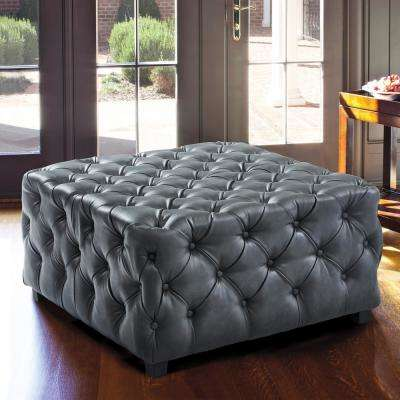 Taurus Grey Faux Leather Contemporary Ottoman with Wood Legs