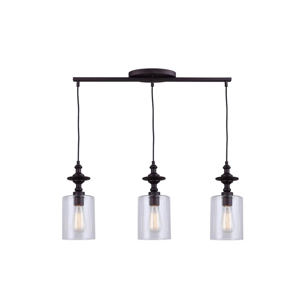 Canarm york 3 light oil rubbed bronze pendant ipl586a03orb for Suspension luminaire triple