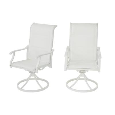 Riverbrook Shell White Swivel Aluminum Padded Sling Outdoor Patio Dining Chairs (2-Pack)