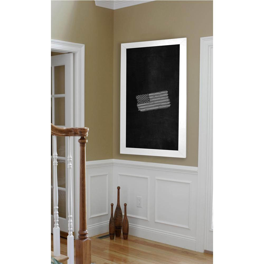 54 in. x 30 in. White Satin Wide Blackboard/Chalkboard