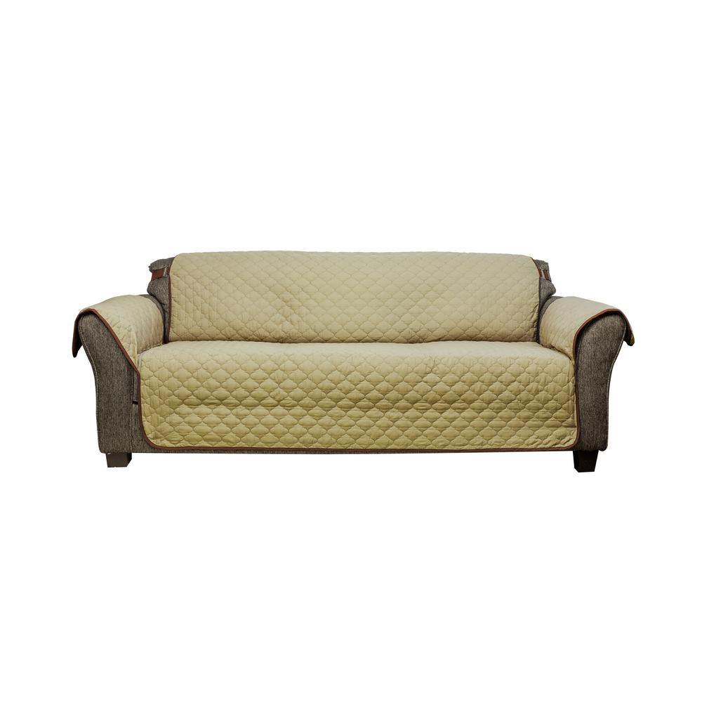 Reynolda Water Resistant Sage-Chocolate Polyester Fit Sofa Slip Cover