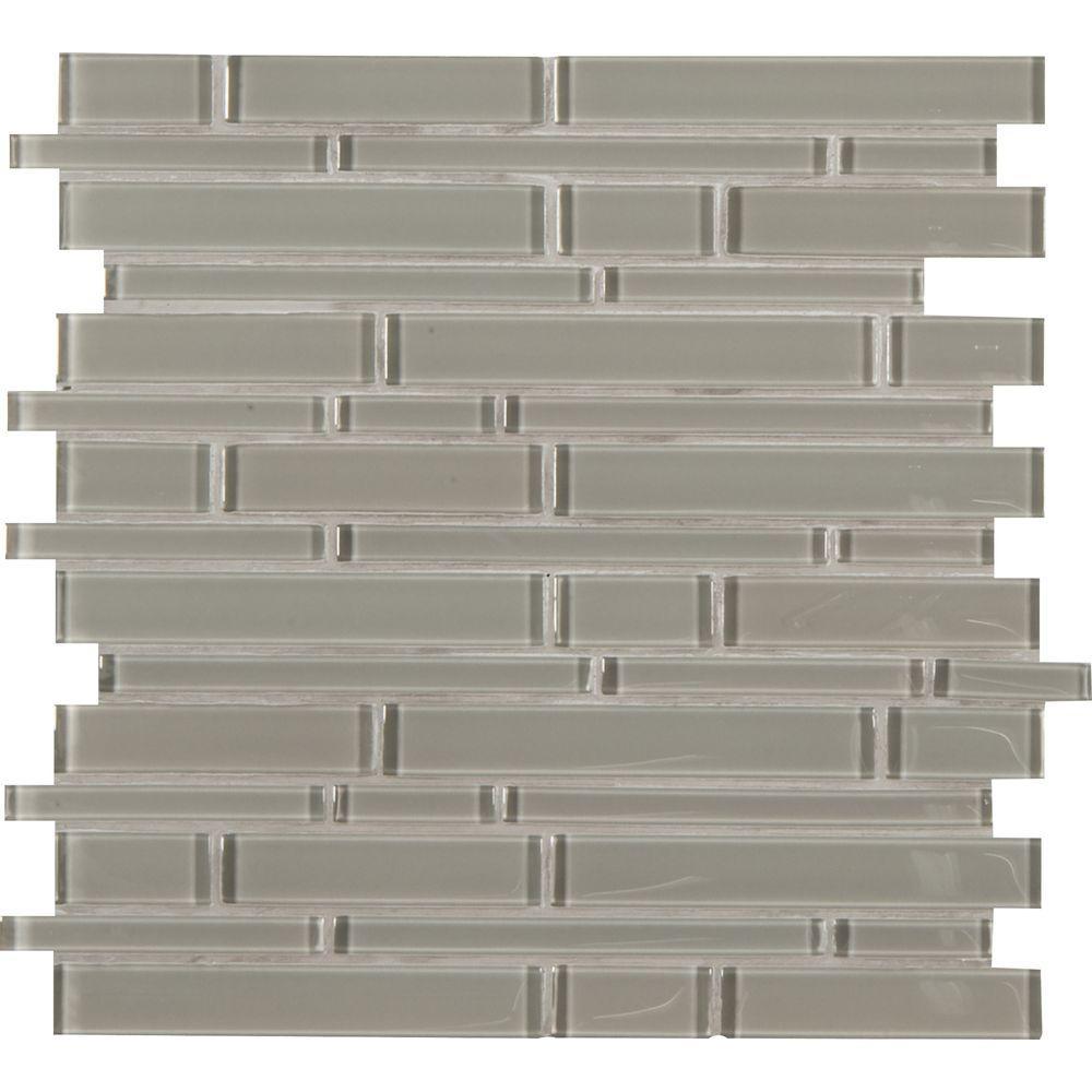 Silver and gray Backsplash Linear Interlocking Glass Mesh-Mounted Wall Mosaic Tile for Kitchen or Bathroom sample