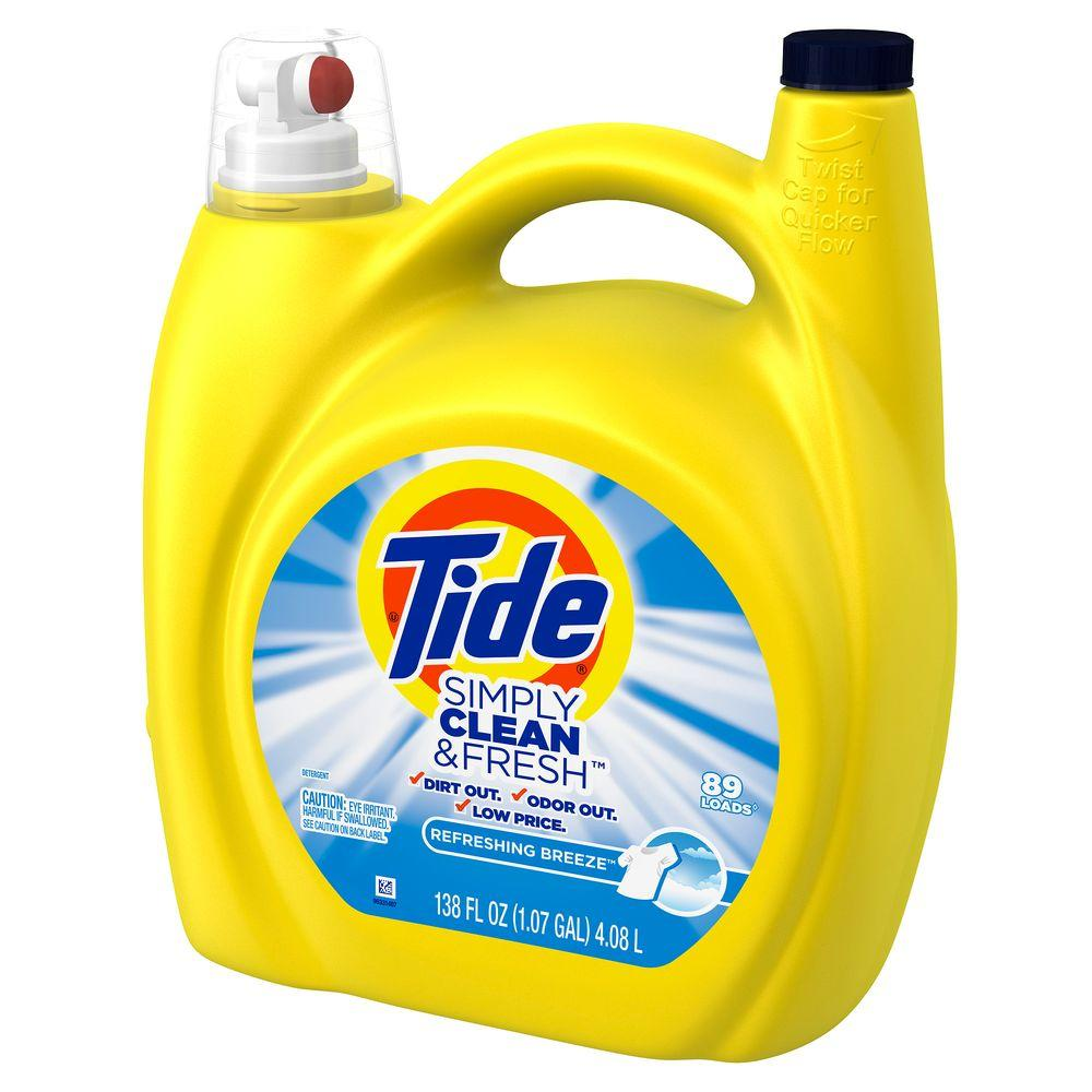 Tide Simply Clean and Fresh 138 oz. Refreshing Breeze Liquid Laundry Detergent (89 Loads)