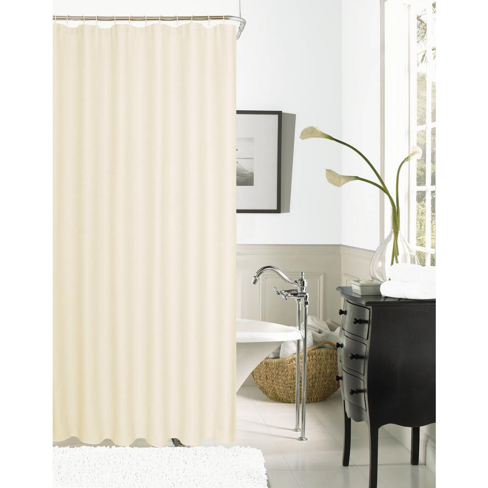 Null Hotel Collection Waffle 72 In. Ivory Shower Curtain