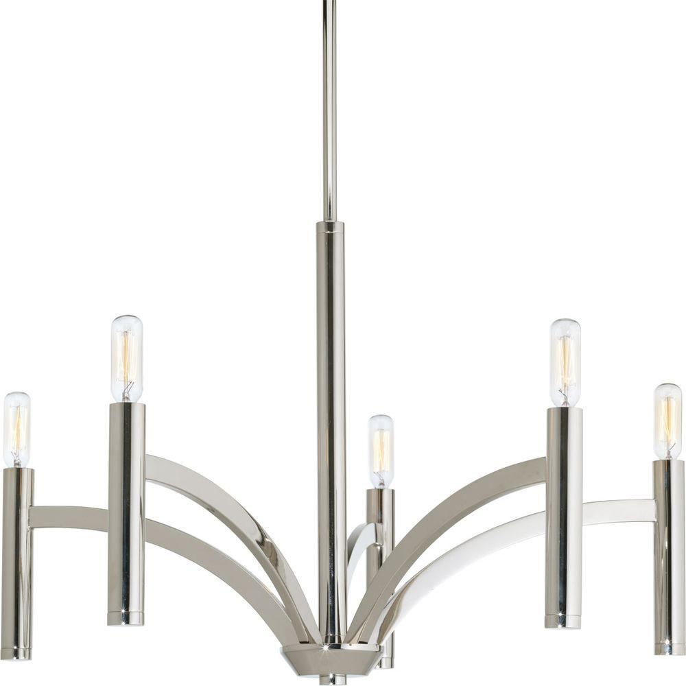 Progress Lighting Dr Collection 5 Light Polished Nickel Chandelier