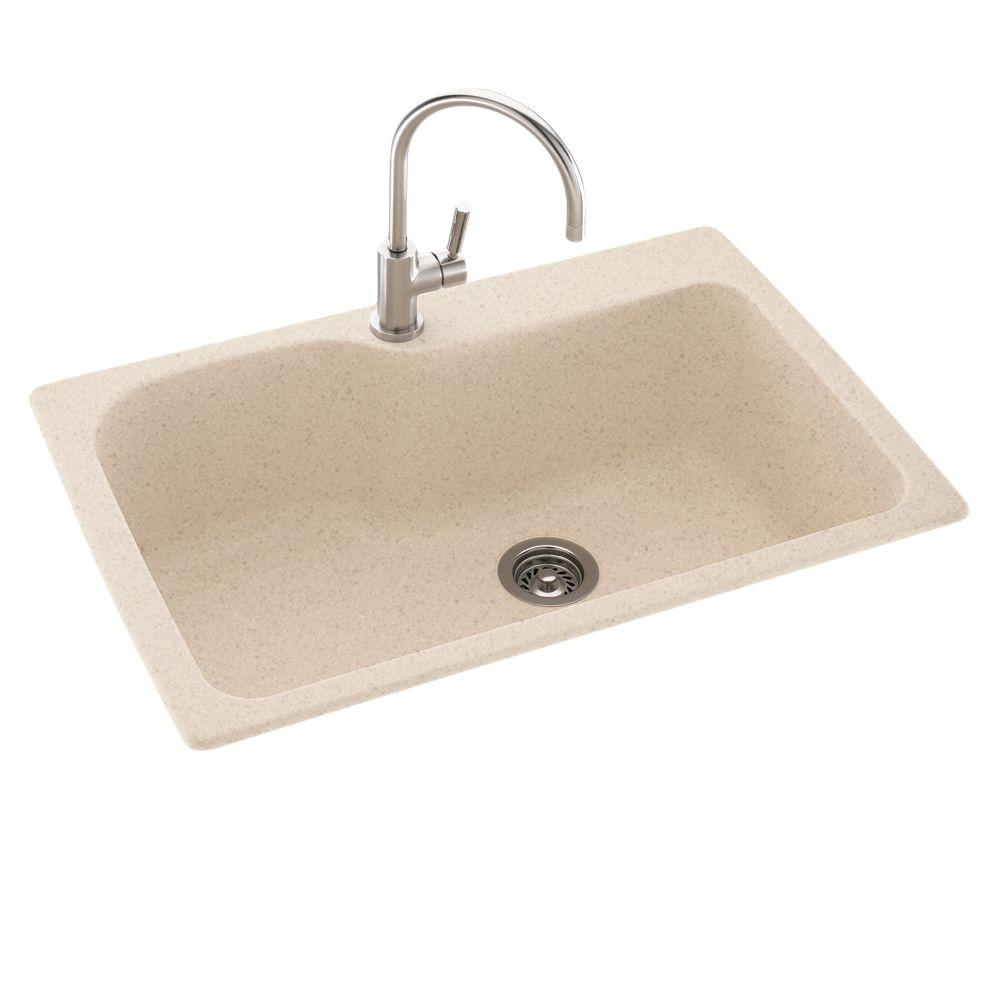 Swan Drop-In/Undermount Solid Surface 33 in. 1-Hole Single Bowl Kitchen Sink in Bermuda Sand