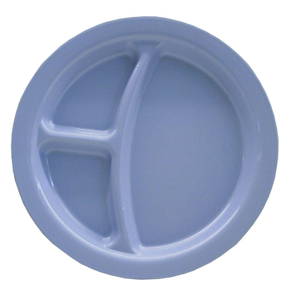 9 in. Diameter Polycarbonate Commercial 3-Compartment Dinner Plate in Slate Blue