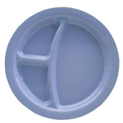 9 in. Diameter Polycarbonate Commercial 3-Compartment Dinner Plate in Slate Blue (Case of 48)