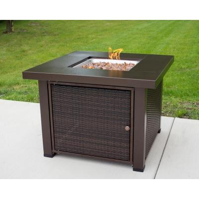 Rio 38 in. x 29 in. Square Wicker and Steel Propane Gas Fire Pit Table in Hammered Bronze