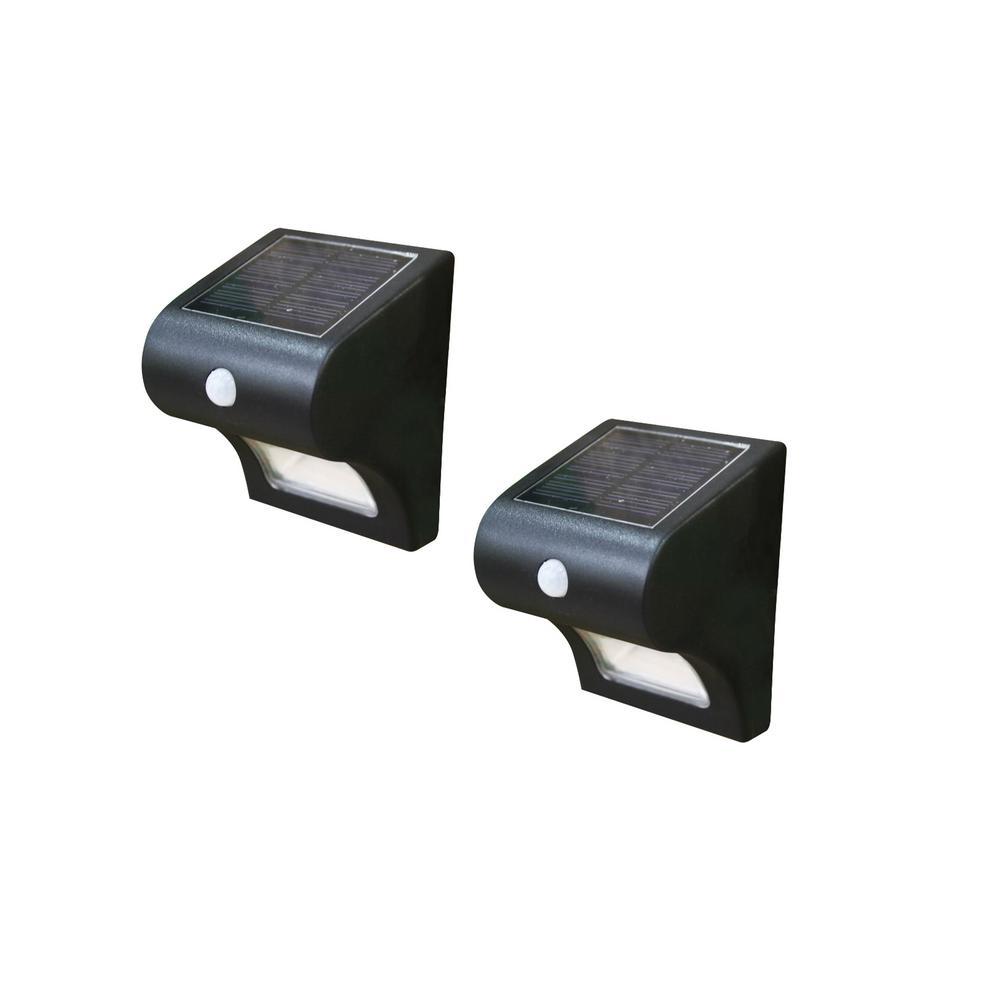 4 in. x 4 in. Solar Battery Black Integrated LED Motion Sensing Deck Post Light (2-Pack)