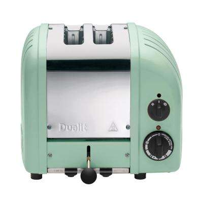 New Gen 2-Slice Mint Green Wide Slot Toaster with Crumb Tray