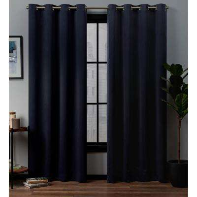 Academy 52 in. W x 96 in. L Woven Blackout Grommet Top Curtain Panel in Navy (2 Panels)