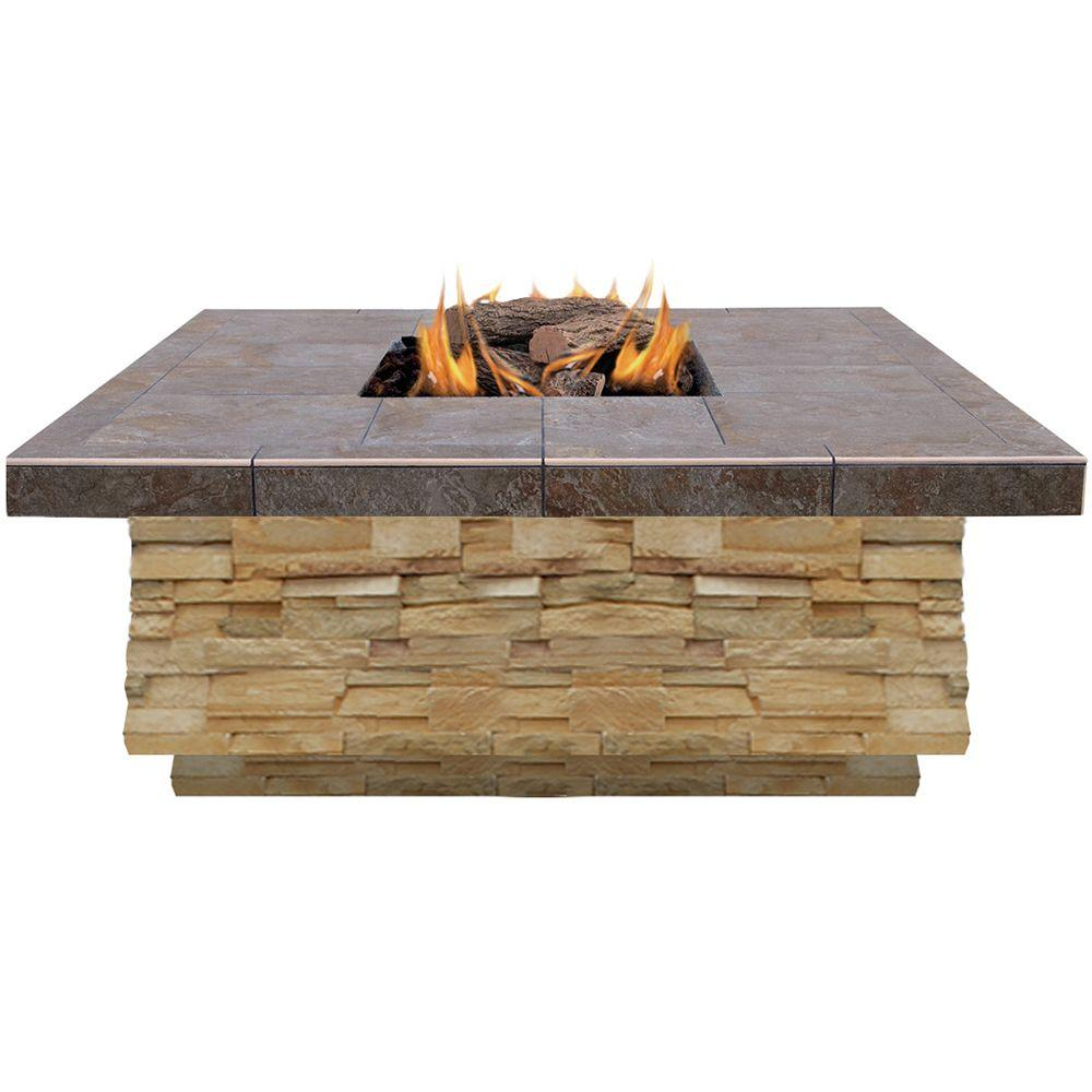 cal flame 48 in natural stone propane gas fire pit in brown with