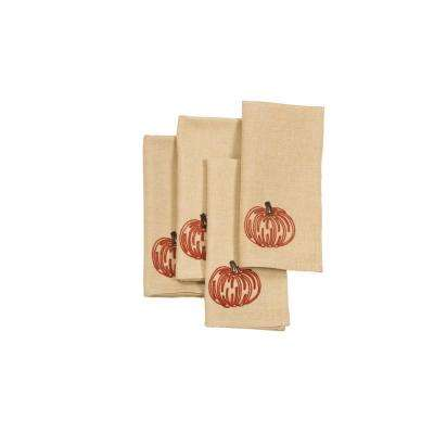 0.1 in. H x 20 in. W x 20 in. D Pumpkin Party Fall Napkins (Set of 4)