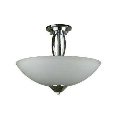 Paloma Collection 3-Light Chrome Semi-Flush Mount Light with Dove White Glass Shade