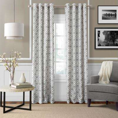 Semi-Opaque Crackle Light Gray Grommet Top Single Curtain Panel - 52 in. W x 95 in. L