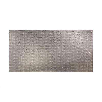 96 in. x 48 in. Alphabet Decorative Wall Panel in Crosshatch Silver