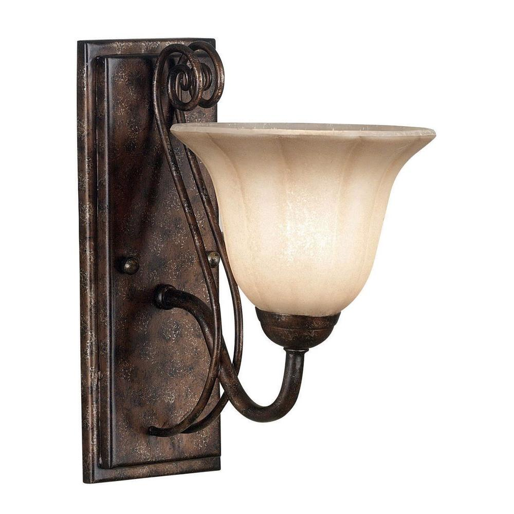 Kenroy Home Wallis 1-Light 12 in. Burnished Bronze Wall Sconce-DISCONTINUED