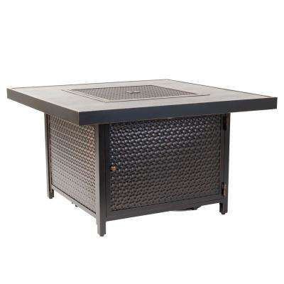 Weyland 40 in. x 24 in. Square Aluminum Propane Fire Pit Table in Antique Bronze
