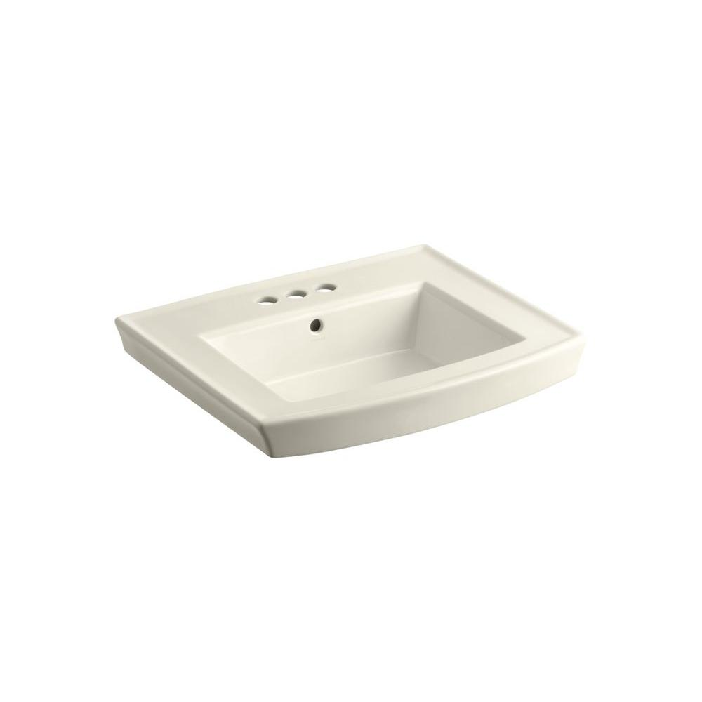 Archer 4 in. Vitreous China Pedestal Sink Basin in Almond with