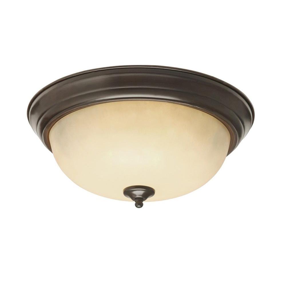 Bel Air Lighting Stewart 3-Light Rubbed Oil Bronze Incandescent Ceiling Flushmount