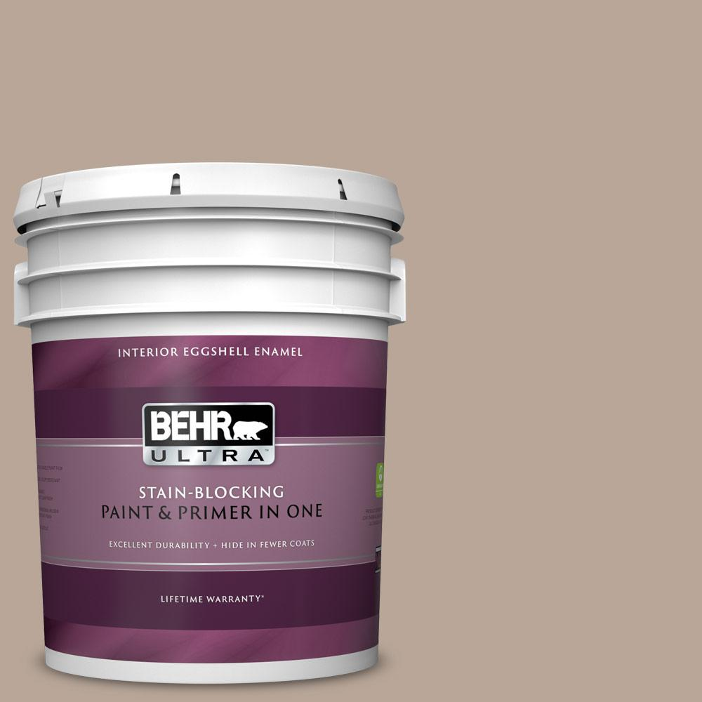 Behr Ultra 5 Gal Bxc 43 Desert Sandstorm Eggshell Enamel Interior Paint And Primer In One 275405 The Home Depot