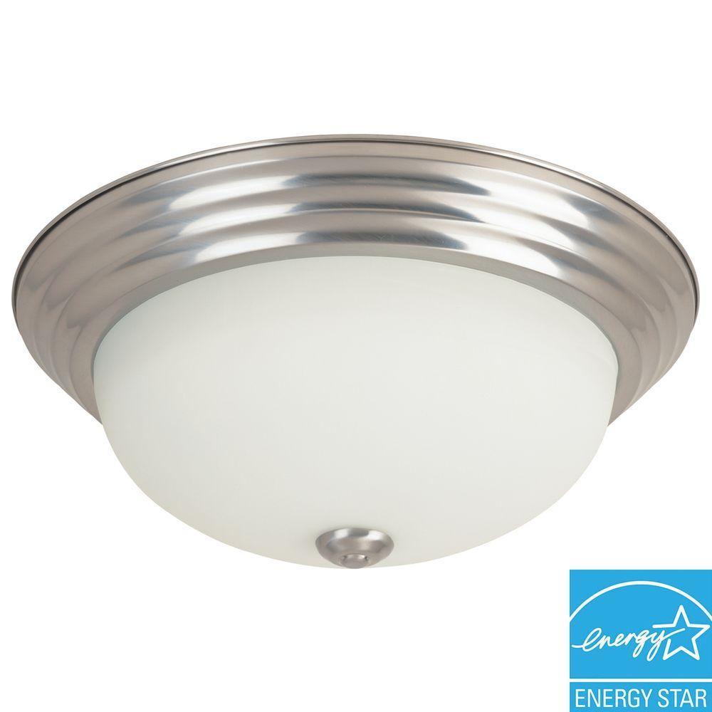 Portland Collection 1-Light Brushed Nickel Fluorescent Ceiling Flush Mount