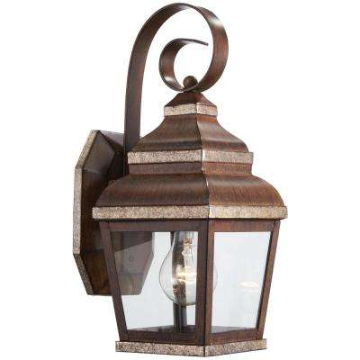 1-Light Mossoro Walnut with Silver Highlights Outdoor Wall Mount Lantern