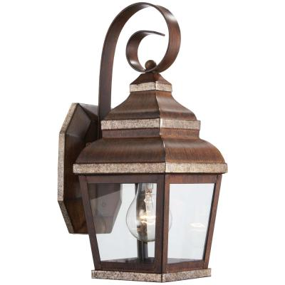 1-Light Mossoro Walnut with Silver Highlights Outdoor Wall Lantern Sconce