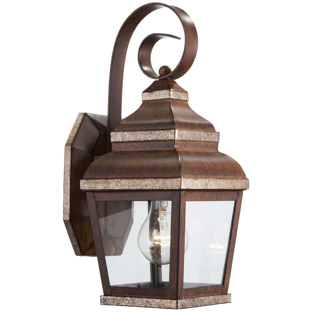 1-Light Mossoro Walnut with Silver Highlights Outdoor Wall Mount Lantern