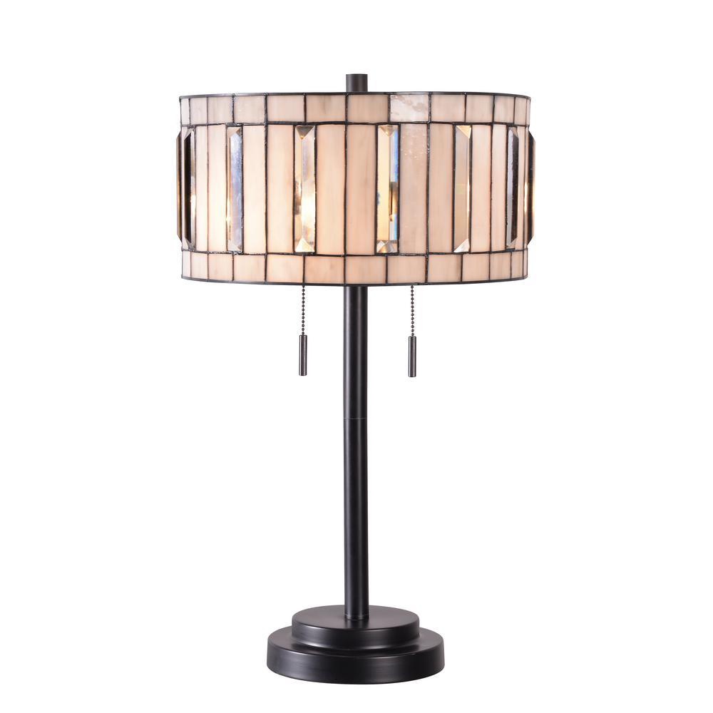 Dark Bronze Table Lamp With Art Gl