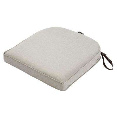 Montlake Heather Grey 20 in. W x 20 in. D x 2 in. Thick Rounded Back Square Outdoor Seat Cushion