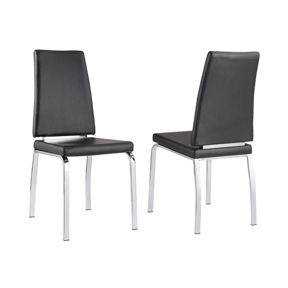 Worldwide Homefurnishings Faux Leather/Chrome Dining Chair in Black