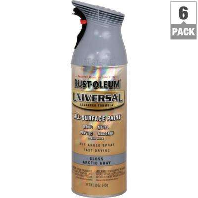 12 oz. All Surface Gloss Arctic Gray Spray Paint and Primer in One (6-Pack)