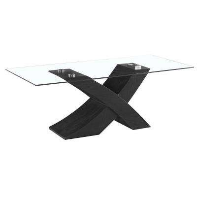 Venice X Modern Style Glass Coffee Table with High Glossy Black Base