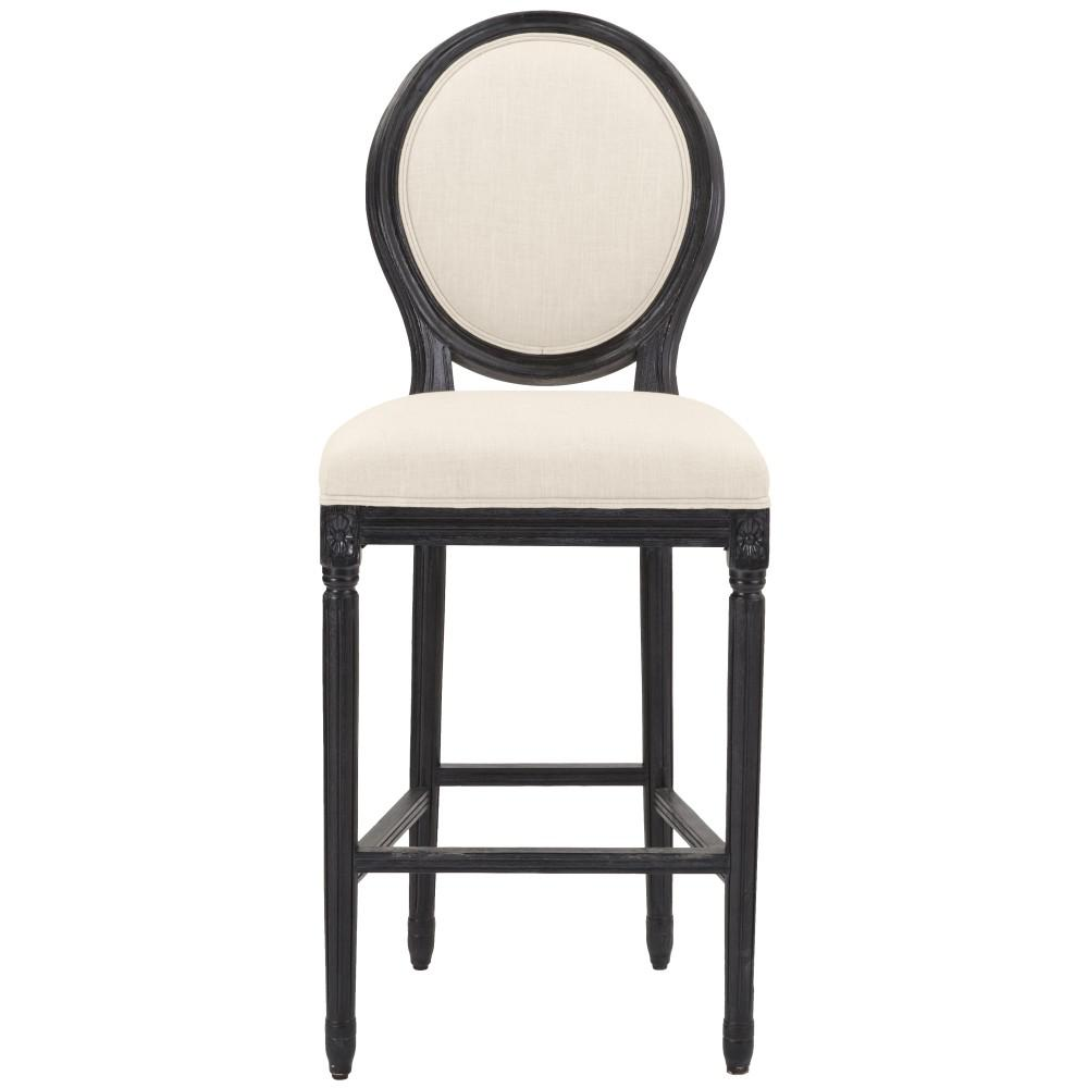 HomeDecoratorsCollection Home Decorators Collection Jacques 30.5 in. Natural Cushioned Bar Stool in Antique Black with Oval Back