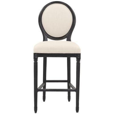 Jacques 30.5 in. Natural Cushioned Bar Stool in Antique Black with Oval Back