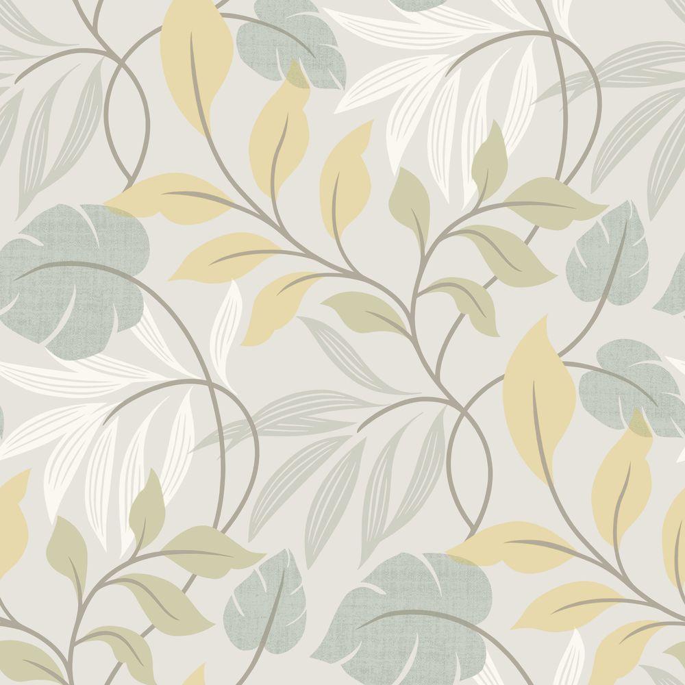 Eden Blue Modern Leaf Trail Wallpaper Sample